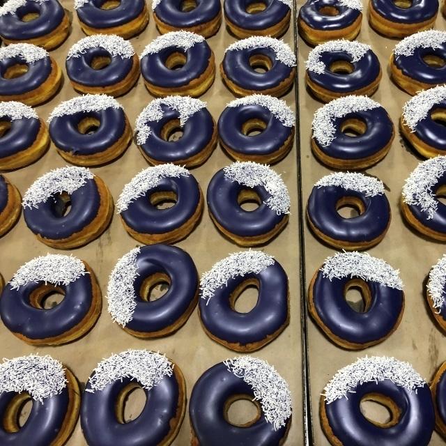 purple donuts w white sprinkles