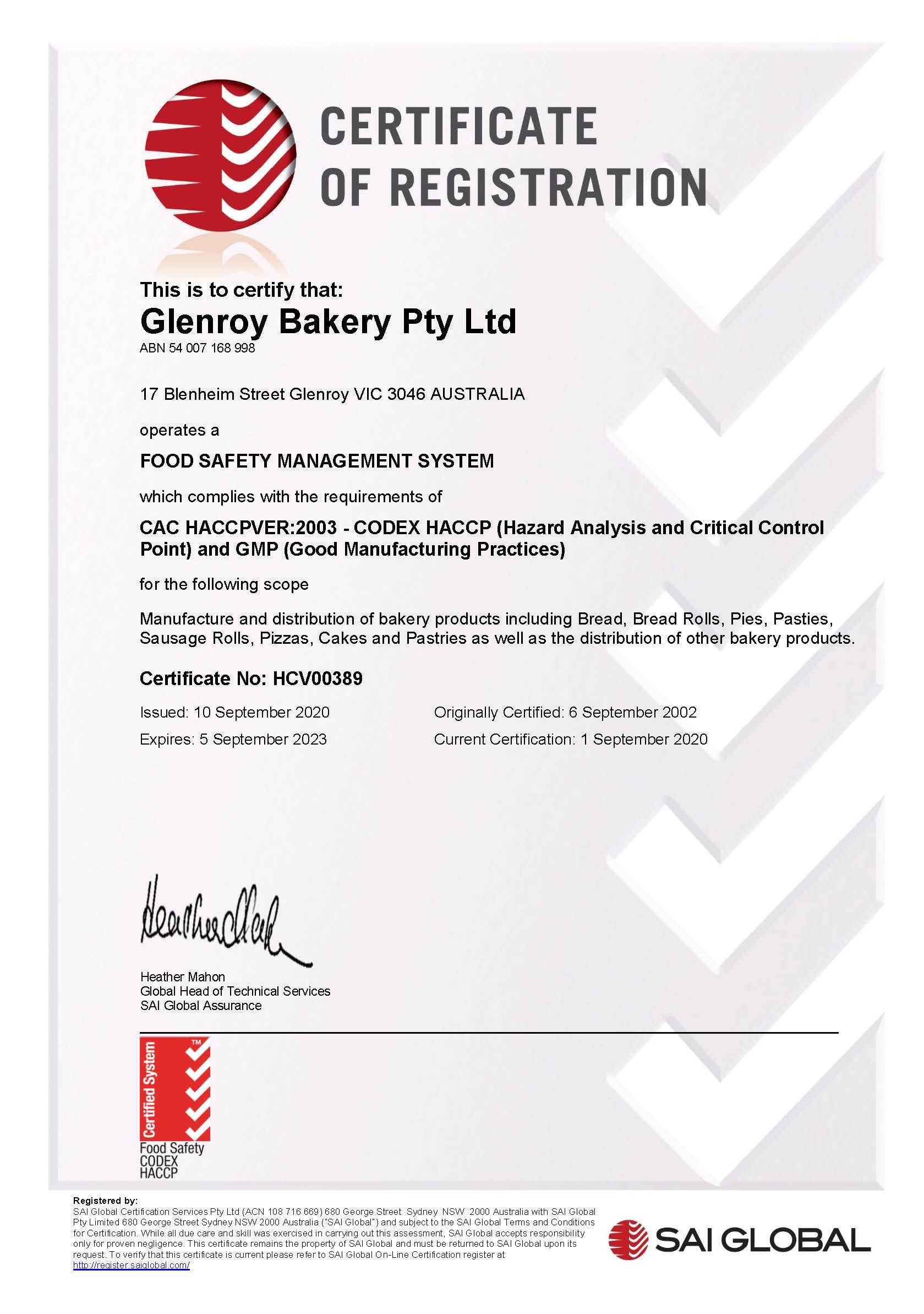 Glenroy Bakery HACCP to 050923